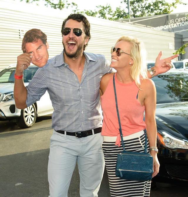 <p>At the opening night gala for the U.S. Open, the country star and his wife, Caroline Boyer, made their favorite clear. (Photo: Janet Mayer/Splash News) </p>