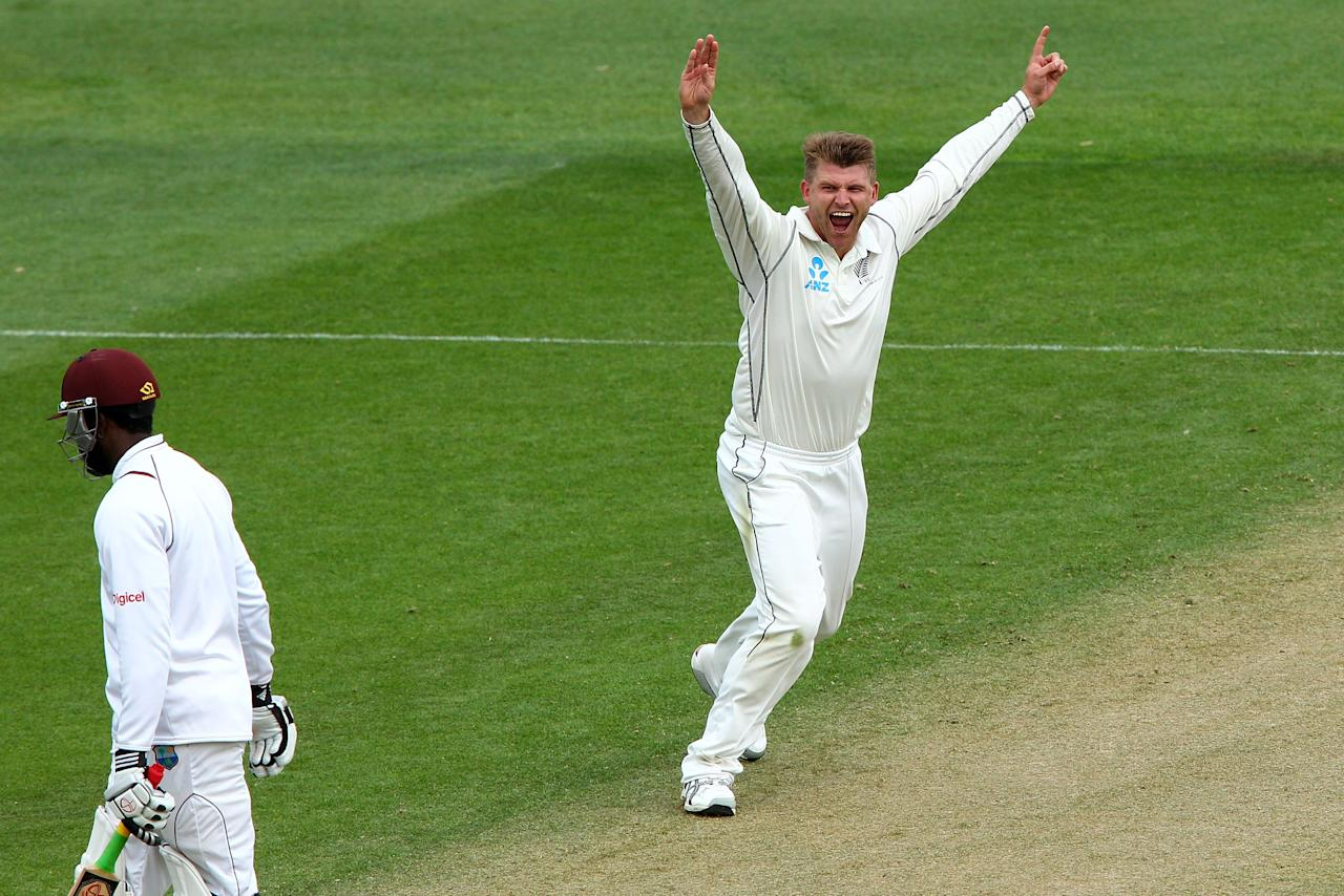 WELLINGTON, NEW ZEALAND - DECEMBER 12:  Corey Anderson of New Zealand celebrates after taking the wicket of Kirk Edwards of the West Indies during day two of the Second Test match between New Zealand and the West Indies at Basin Reserve on December 12, 2013 in Wellington, New Zealand.  (Photo by Hagen Hopkins/Getty Images)