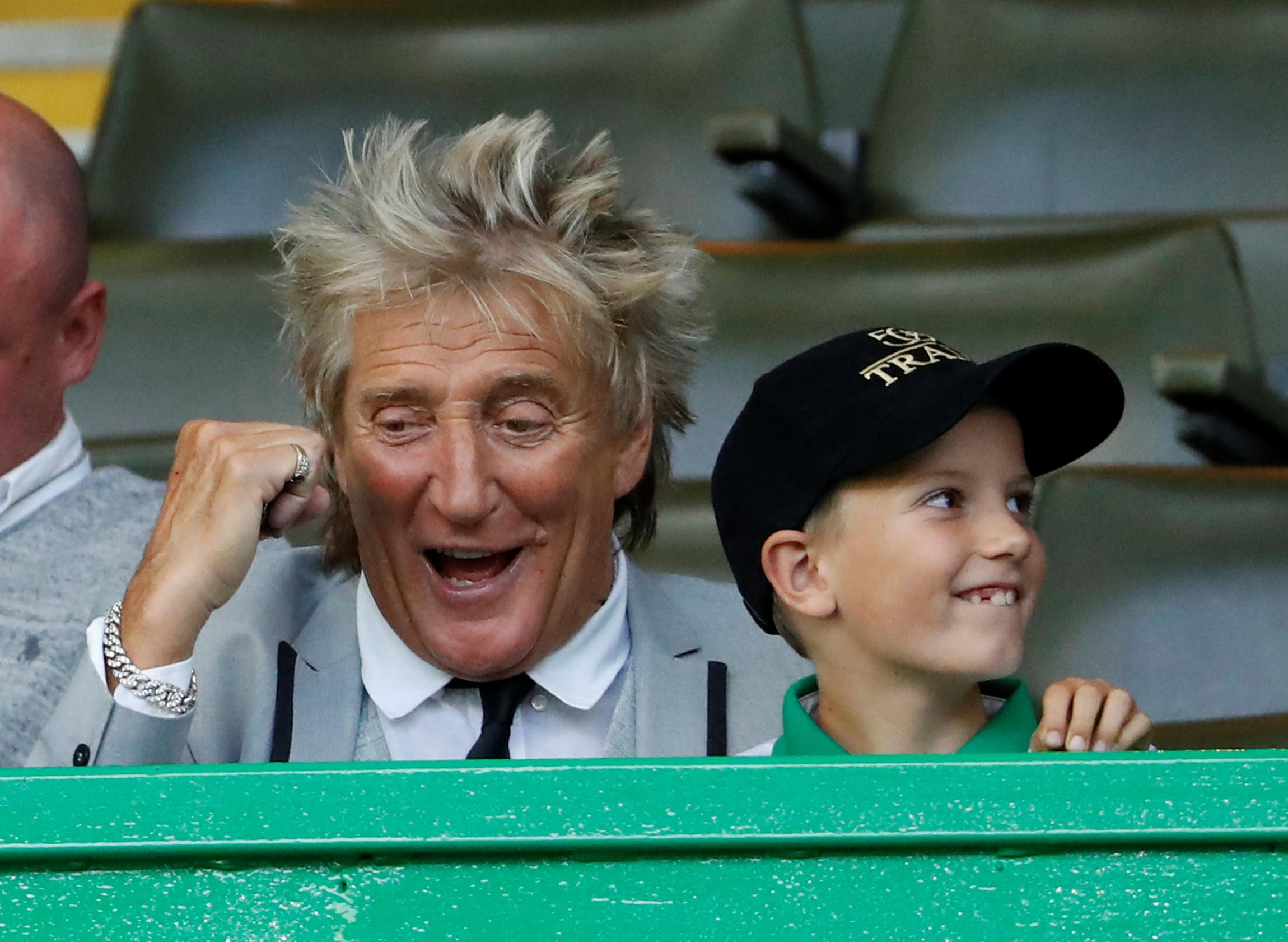 Soccer Football - Champions League - Third Qualifying Round Second Leg - Celtic v CFR Cluj - Celtic Park, Glasgow, Britain - August 13, 2019 Rod Stewart in the stands before the match REUTERS/Russell Cheyne