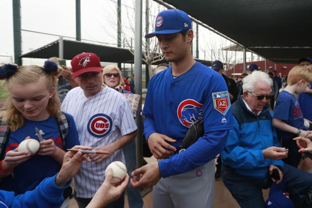 "<a class=""link rapid-noclick-resp"" href=""/mlb/players/9095/"" data-ylk=""slk:Yu Darvish"">Yu Darvish</a> signed a six-year deal with Chicago, giving the Cubs one of the N.L.'s most impressive starting rotations. (AP Photo/Carlos Osorio)"