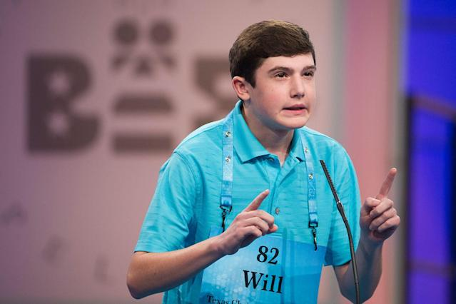<p>Will Lourcey of Fort Worth, Texas, correctly spells his word during the 90th Scripps National Spelling Bee in Oxon Hill, Md., Wednesday, May 31, 2017. (AP Photo/Cliff Owen) </p>