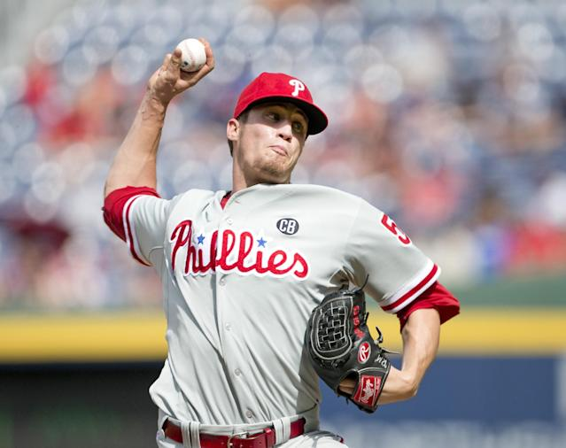 Philadelphia Phillies relief pitcher Ken Giles works in the eighth inning of a baseball game against the Atlanta Braves Monday, Sept. 1, 2014, in Atlanta. Giles combined with starting pitcher Cole Hamels, and relief pitchers Jonathan Papelbon and Jake Diekman for a no hitter. (AP Photo/John Bazemore)
