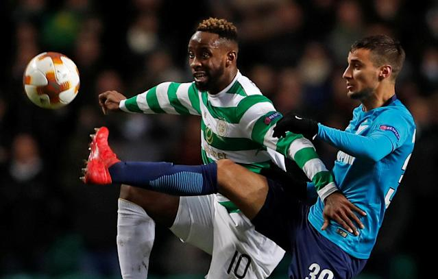 Soccer Football - Europa League Round of 32 First Leg - Celtic vs Zenit Saint Petersburg - Celtic Park, Glasgow, Britain - February 15, 2018 Celtic's Moussa Dembele in action with Zenit St. Petersburg's Emanuel Mammana Action Images via Reuters/Lee Smith