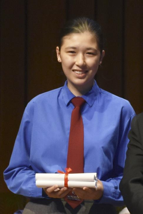 Elena Yin Vermeer, from Diocesan Girls' School is a 'super achiever', who reached level 5** in eight subjects, including the extended maths module. Photo: Handout