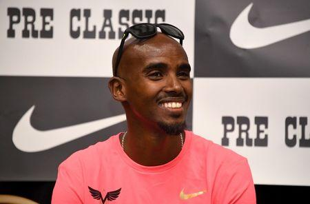 May 26, 2017; Eugene, OR, USA; Mo Farah (GBR) during press conference prior to the 43rd Prefontaine Classic at the Valley River Inn. Mandatory Credit: Kirby Lee-USA TODAY Sports