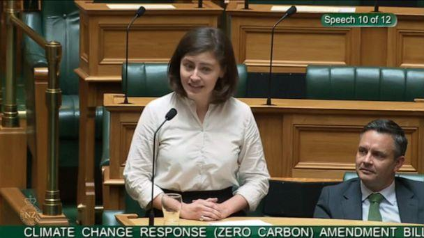 PHOTO: Lawmaker Chloe Swarbrick, a member of New Zealand's Green Party, speaks about climate change in the New Zealand Parliament on Nov. 5, 2019. (New Zealand Parliament)