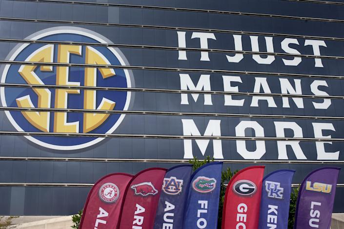 The SEC logo welcomes people to Media Days at the Hyatt Regency in Hoover, Alabama, earlier this week. Could the conference soon be welcoming Oklahoma and Texas?