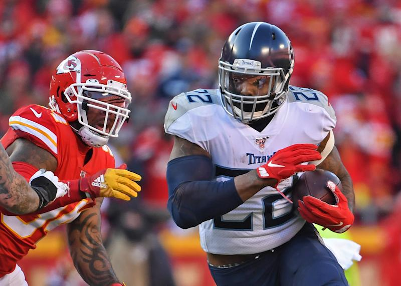 KANSAS CITY, MO - JANUARY 19: Running back Derrick Henry #22 of the Tennessee Titans runs up field against the Kansas City Chiefs in the first half in the AFC Championship Game at Arrowhead Stadium on January 19, 2020 in Kansas City, Missouri. (Photo by Peter G. Aiken/Getty Images)