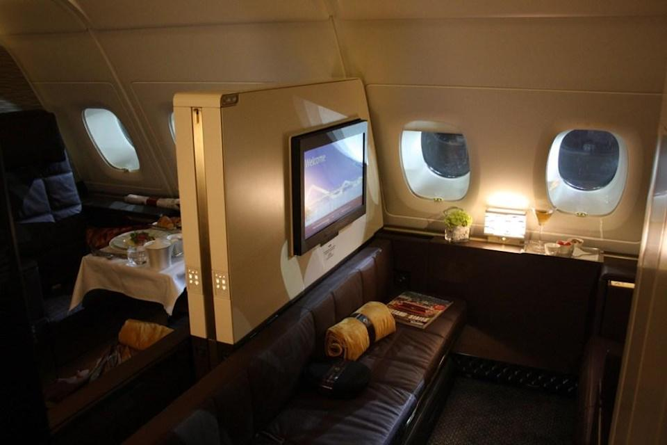 "The <a href=""https://thepointsguy.com/2015/12/etihad-a380-the-residence-review/"" rel=""nofollow noopener"" target=""_blank"" data-ylk=""slk:Etihad Airways First Apartment"" class=""link rapid-noclick-resp"">Etihad Airways First Apartment</a>—a private room with a bed, armchair, vanity and makeup mirror, and onboard shower—can easily run you more than $30,000 for a round-trip ticket from New York to Dubai."