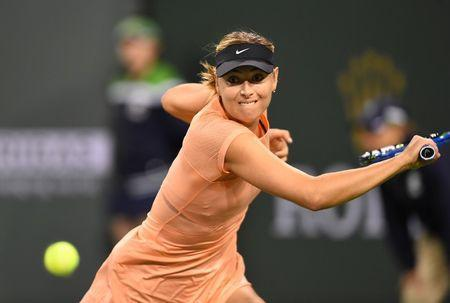 Mar 7, 2018; Indian Wells, CA, Maria Sharapova (RUS) in her first round match against Naomi Osaka (not pictured) at the BNP Paribas Open at the Indian Wells Tennis Garden. Jayne Kamin-Oncea-USA TODAY Sports