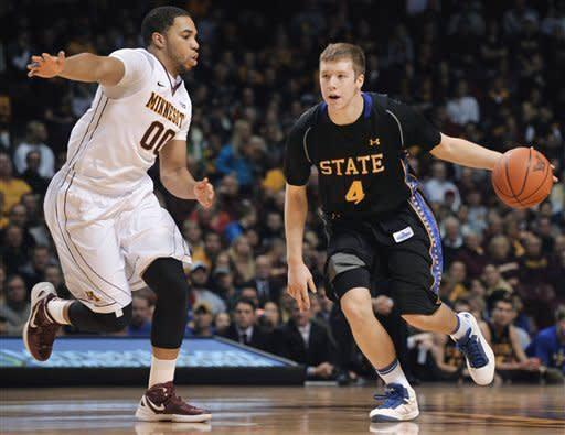 South Dakota State's Jake Bittle, right, works against Minnesota's Julian Welch during the first half of an NCAA college basketball game, Tuesday, Dec. 4, 2012, in Minneapolis. (AP Photo/Tom Olmscheid)