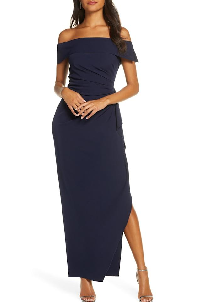 "<p><strong>BUY IT: $188;</strong> <a href=""https://click.linksynergy.com/deeplink?id=93xLBvPhAeE&mid=1237&murl=https%3A%2F%2Fshop.nordstrom.com%2Fs%2Fvince-camuto-off-the-shoulder-crepe-gown%2F4796556%3Forigin%3Dcategory-personalizedsort%26breadcrumb%3DHome%252FWomen%252FClothing%252FDresses%26fashioncolor%3DBlue%26color%3Dnavy&u1=SL%2CRX_1910_NavyBlueHolidayDresses_OfftheShoulderCrepeGown%2Cjmcdonald0953%2C%2CIMA%2C647996%2C201910%2CI"" target=""_blank"">nordstrom.com</a></p>"