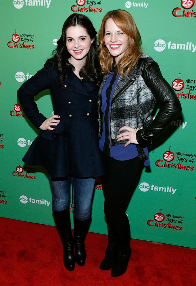 "Vanessa Marano and Katie Leclerc attend ABC Family's ""25 Days Of Christmas"" Winter Wonderland Event at Rockefeller Center on December 2, 2012 in New York City."