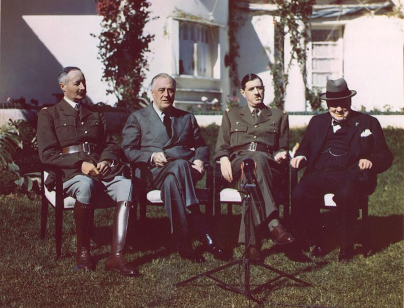Portrait of, from left, French General Henri Giraud, American President Franklin Delano Roosevelt, French General Charles de Gaulle, and British Prime Minister Sir Winston Churchillduring the Casablanca Conference where they planned Allied strategy for the European campaign in World War II. (PhotoQuest via Getty Images)