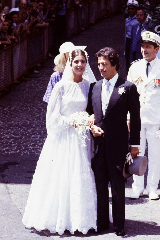 <p>Princess Caroline married her first husband, banker Philippe Junot, in the summer of 1978. Ava Gardner, Frank Sinatra, and Cary Grant were among the wedding guests. (The couple divorced two years later.)</p>