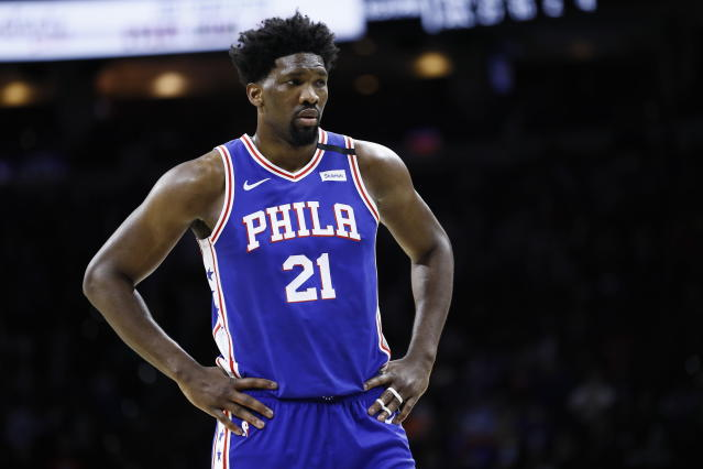 "<a class=""link rapid-noclick-resp"" href=""/nba/players/5294/"" data-ylk=""slk:Joel Embiid"">Joel Embiid</a> did not return to Wednesday's game after a collision with <a class=""link rapid-noclick-resp"" href=""/nba/players/5654/"" data-ylk=""slk:Ante Zizic"">Ante Zizic</a>. (AP Photo/Matt Slocum)"