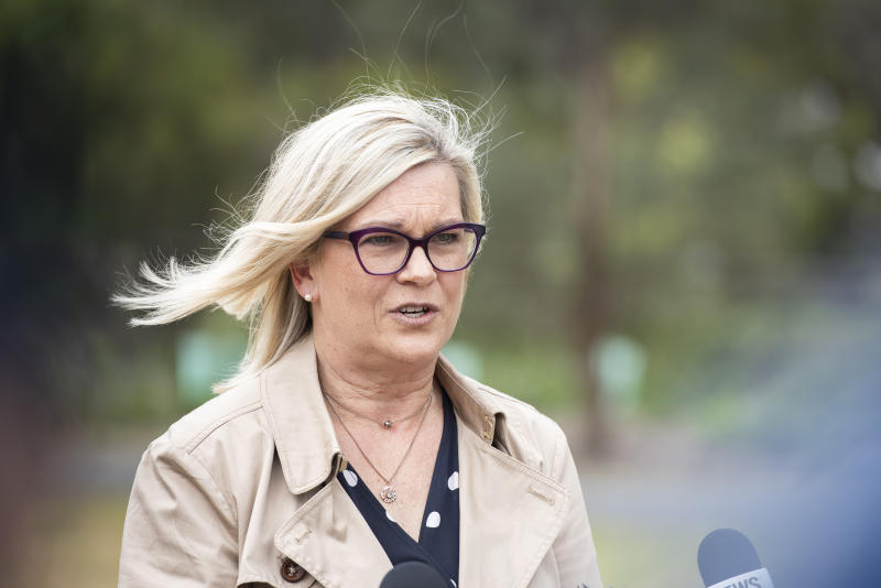 Sexual Crime Squad Detective Acting Inspector Janet Mitchell speaks to the media in Melbourne on Sunday. Source: AAP/Ellen Smith
