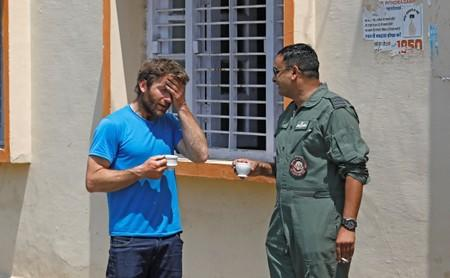 British Climber and expedition's deputy leader, Mark Thomas reacts as he talks to an Indian Air Force pilot in Pithoragarh