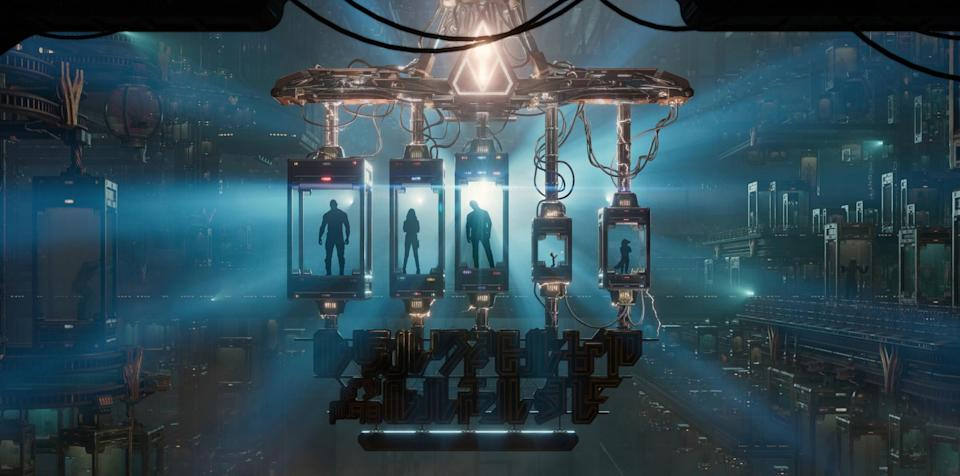 <p>Drax (Dave Bautista), Gamora (Zoe Saldana), Peter Quill (Chris Pratt), Baby Groot, and Rocket Raccoon are captured and added to the Collector's menagerie, setting up the scenario for the Mission: Breakout! ride. (Photo: Disneyland Resort) </p>