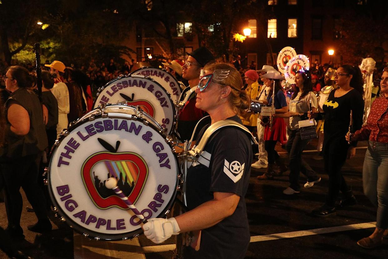 The Lesbian & Gay Big Apple Corps performs during the Village Halloween Parade in New York City. (Photo: Gordon Donovan/Yahoo News)