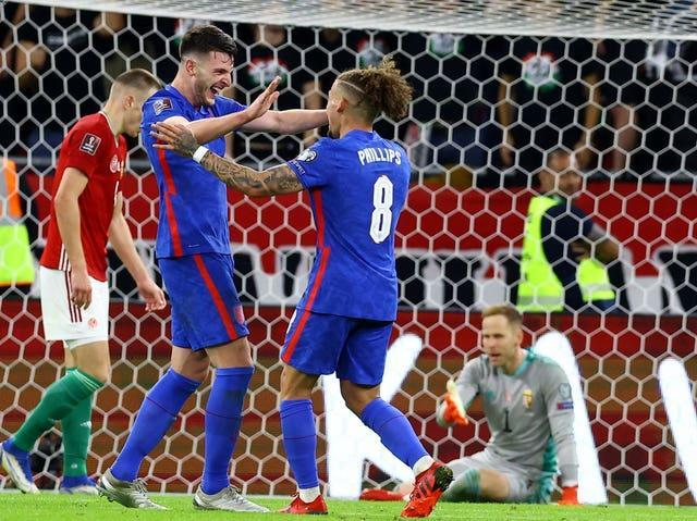 Declan Rice (left) scored the fourth for England