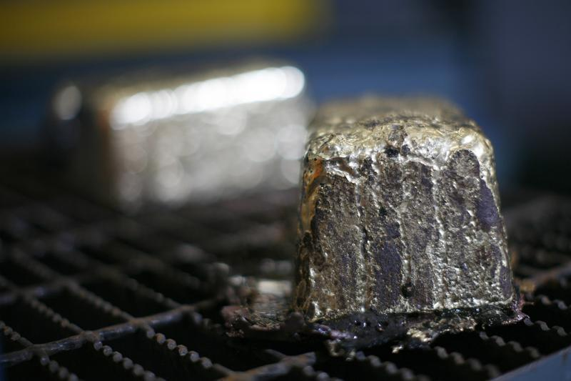 Gold bars are pictured during a tour of Agnico-Eagle's Meadowbank gold mine near Baker Lake