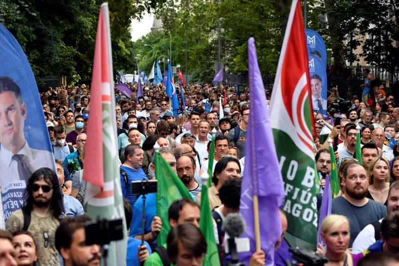 Protest against the Hungarian government for using Pegasus spyware in Budapest