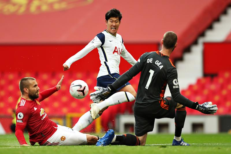 Son Heung-min scores against Manchester United.