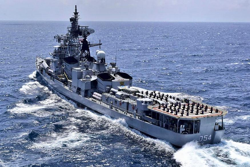 Indian Navy personnel perform Yoga on the deck of Indian Navy Ship (INS) Ranvir ahead of the International Day of Yoga 2019, in the Bay of Bengal. (Image: PTI)