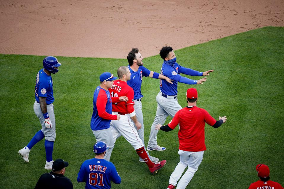 The benches clear after Amir Garrett struck out the Chicago Cubs' Anthony Rizzo.