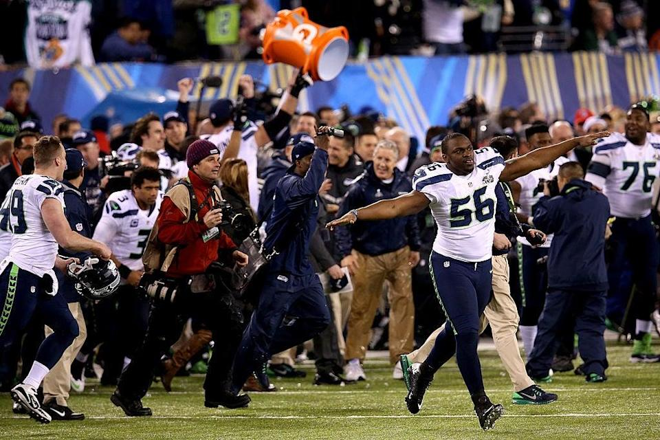 Cliff Avril celebrates the Seattle Seahawks' 43-8 win over the Denver Broncos at Super Bowl XLVIIIGetty