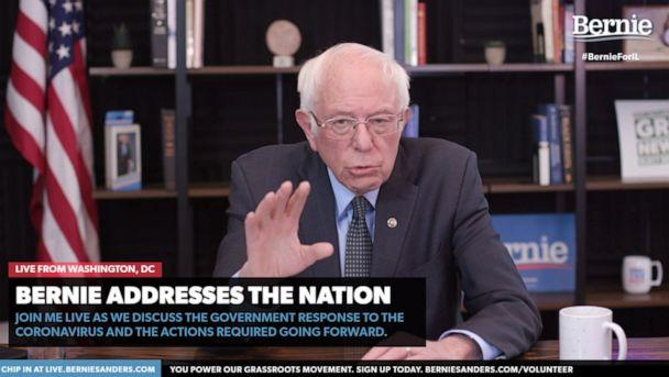 PHOTO: Democratic presidential candidate Sen. Bernie Sanders makes his recommendations for how the U.S. should handle the coronavirus pandemic during a livestream address on March 17, 2020. (berniesanders.com)