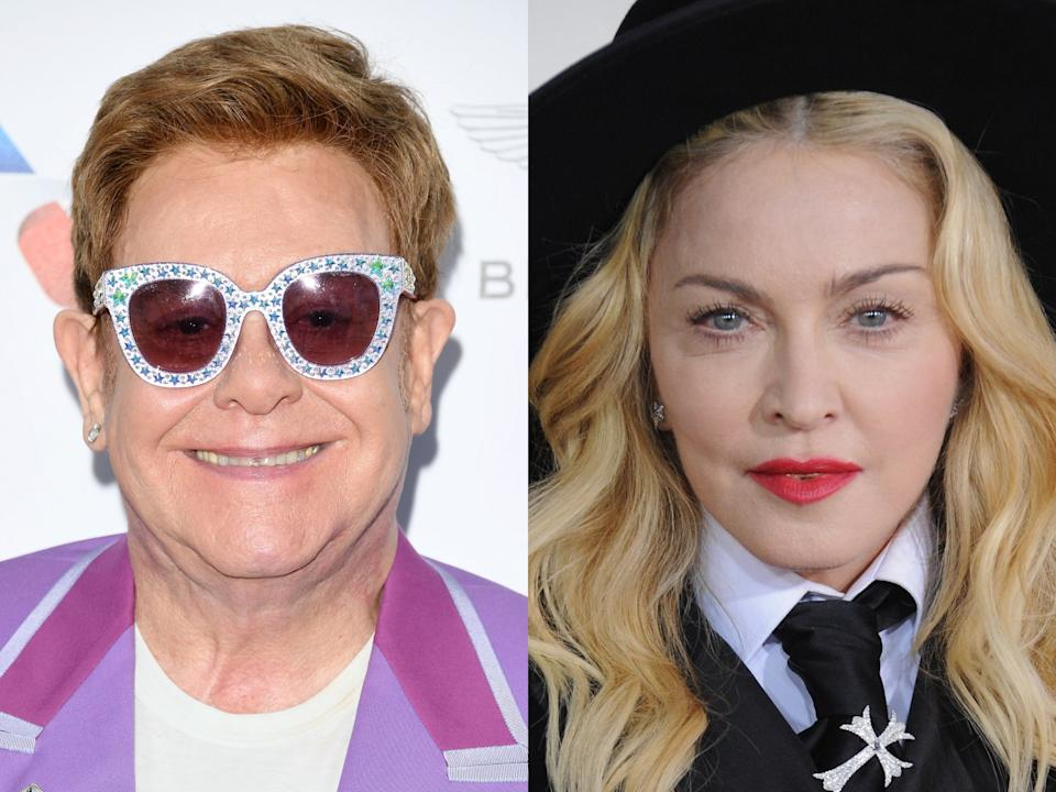Sir Elton John has slammed Madonna for being 'ungracious' and 'nasty' to Lady Gaga when she released 'Born This Way' (Daniele Venturelli/Jon Kopaloff/Getty Images)