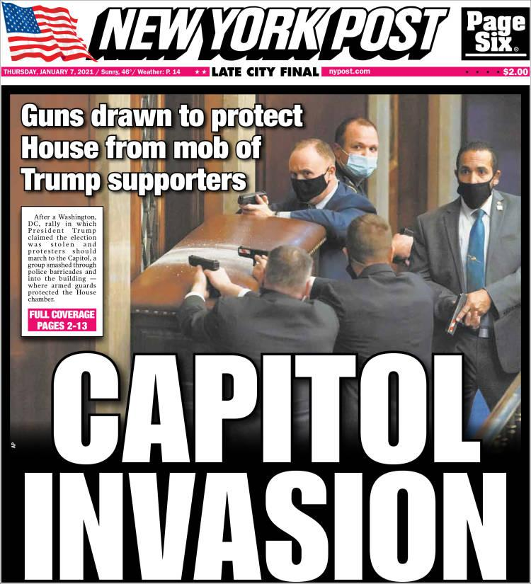 Front page of the New York Post on Thursday