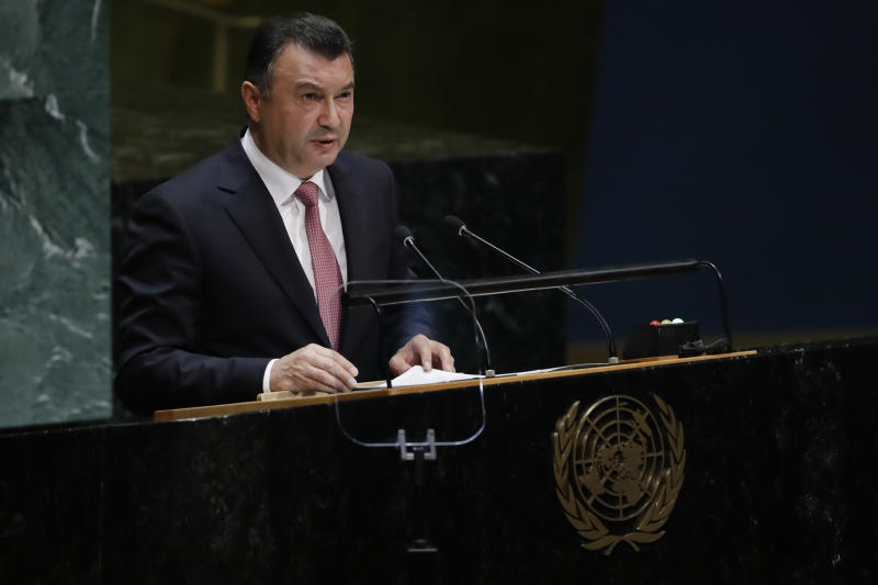 Prime Minister for Tajikistan Qohir Rasulzoda addresses the 74th session of the United Nations General Assembly, Friday, Sept. 27, 2019, at the United Nations headquarters. (AP Photo/Frank Franklin II)