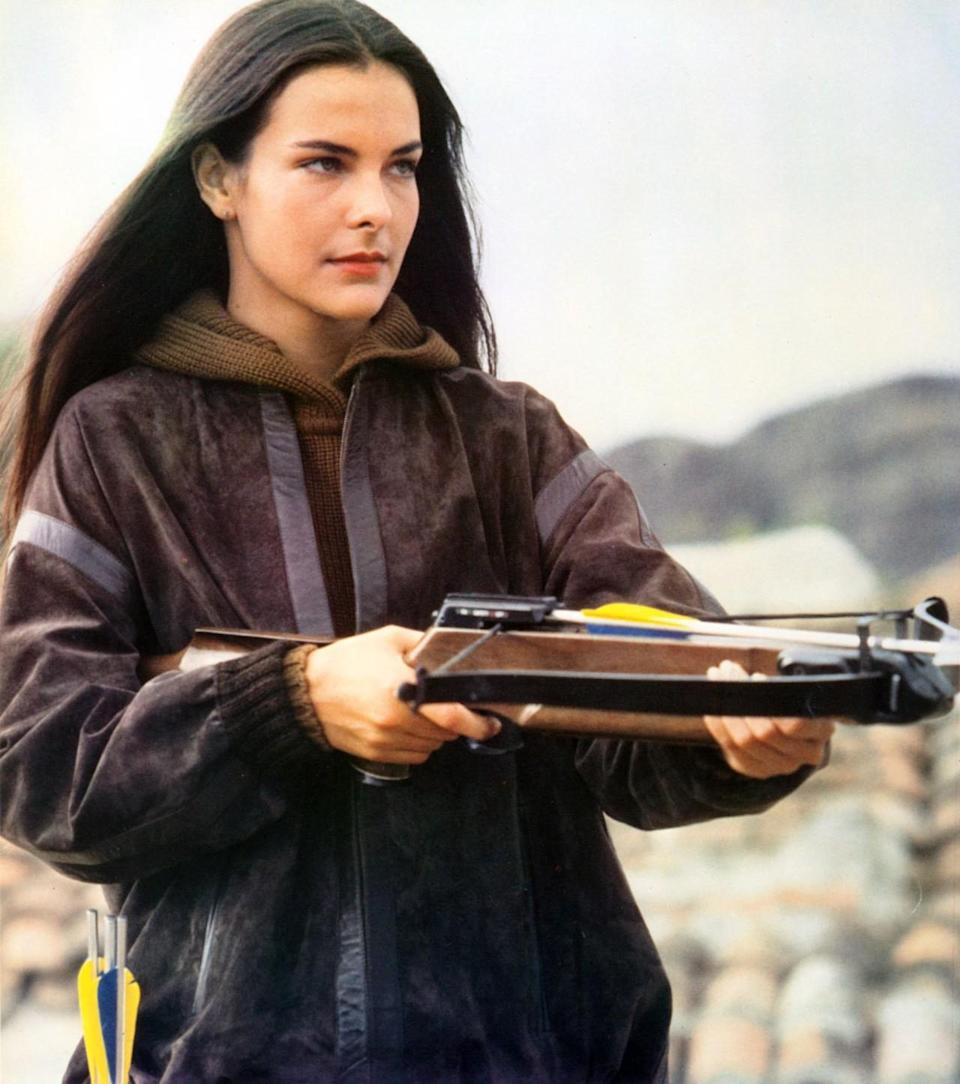 <p>Seeking to avenge the murder of her marine archeologist parents, Havelock's strong center part and in-your-face crossbow mean serious business. <i>(Photo: Everett Collection)</i></p>