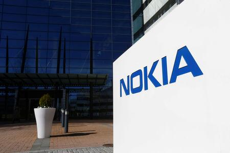 FILE PHOTO: A Nokia logo is seen at the company's headquarters in Espoo
