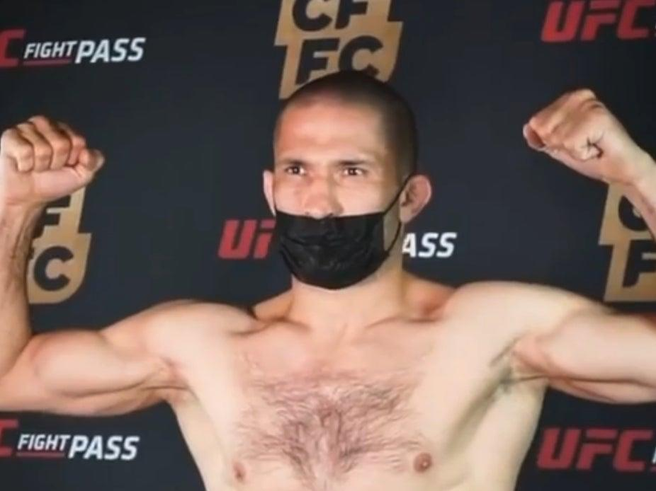 <p>Khetag Pliev weighs in ahead of the bout in which he had his finger torn off</p> (cffcmma via Instagram)