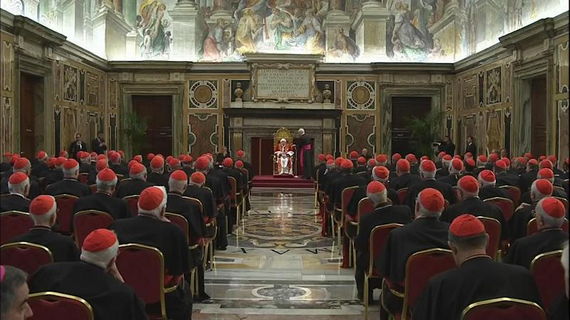 "In this image taken from video as Pope Benedict XVI, seated at centre, delivered his final greetings to the assembly of cardinals at the Vatican Thursday Feb. 28, 2013, before he retires in just a few hours. Benedict urged the cardinals to work in unity and promised his ""unconditional reverence and obedience"" to his successor in his final words to his cardinals Thursday in a poignant and powerful farewell before he becomes the first pope in 600 years to resign. (AP Photo/Vatican TV)"