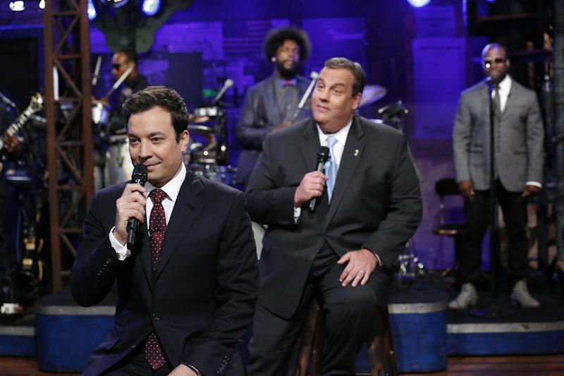 "This June 12, 2013 photo released by NBC shows host Jimmy Fallon, left, and New Jersey Gov. Chris Chistie during a taping of ""Late Night with Jimmy Fallon,"" in New York. (AP Photo/NBC, Lloyd Bishop)"