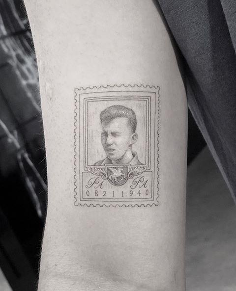 <p>Jonas showed off his ink from Mr. K at Bang Bang Tattoos on Instagram as he and then-fiancée Sophie Turner revealed that they each got tributes in honor of their grandfathers. Jonas had the image of a stamp created with a photo of his grandfather PaPa Miller in his military uniform.</p>