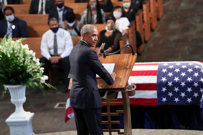 Former President Barack Obama addresses the service during the funeral for the late Rep. John Lewis.
