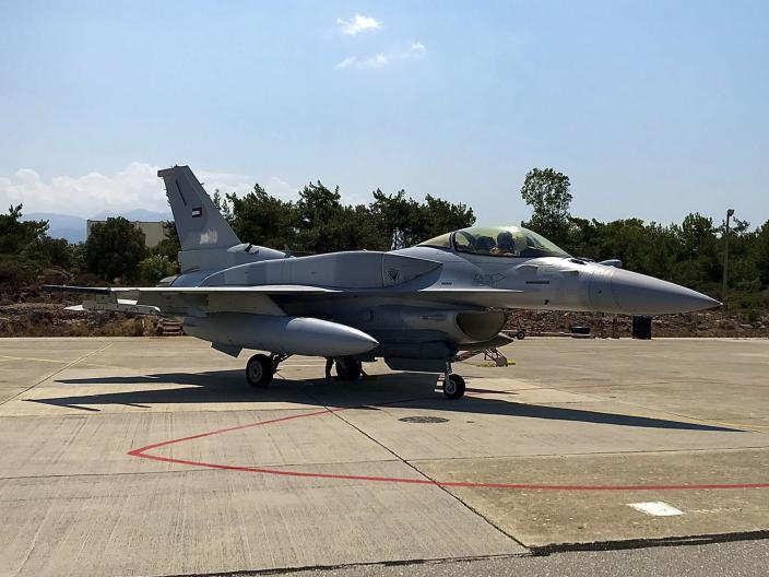 In this photo provided by the Greek Defense Ministry, an air force jet from the United Arab Emirates arrives at the airbase of Souda to take part in a joint training with Greek forces, on the southern island of Crete, Greece, on Thursday, Aug. 27, 2020. Germany's foreign minister on Thursday called for an end to military drills in the eastern Mediterranean to defuse tensions and create conditions for NATO allies Greece and Turkey to resolve a dispute over offshore energy exploration rights. (Greek Defense Ministry via AP)