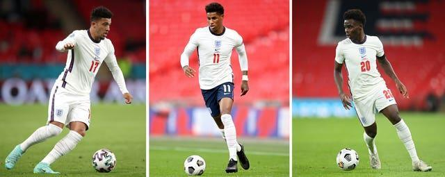 England's (left to right) Jadon Sancho, Marcus Rashford and Bukayo Saka were racially abused after their penalty misses