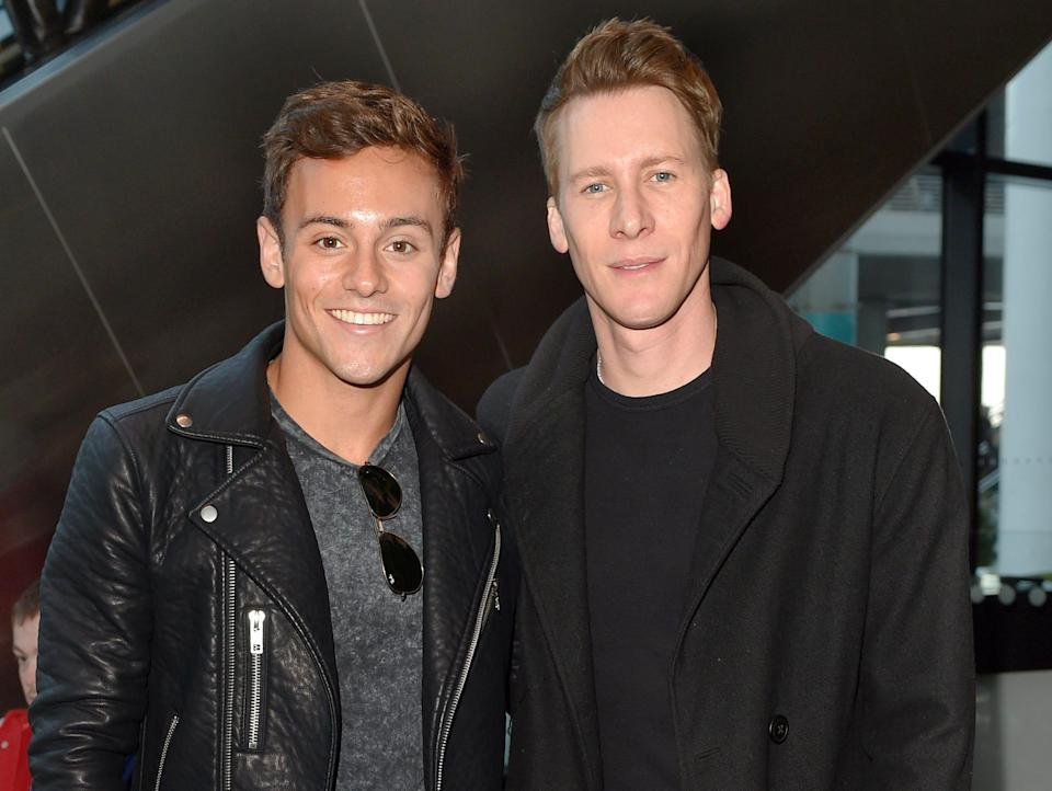 Tom Daley and Dustin Lance Black in 2015 dressed in all black