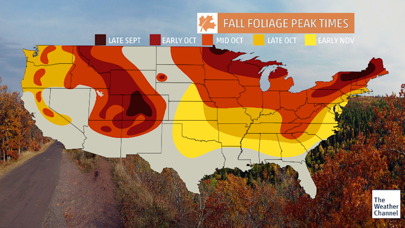 "Use <a href=""https://weather.com/maps/fall-foliage"" target=""_blank"">The Weather Channel's hyper-local maps</a> to help plan your getaway during peak foliage times.  (The Weather Channel)"