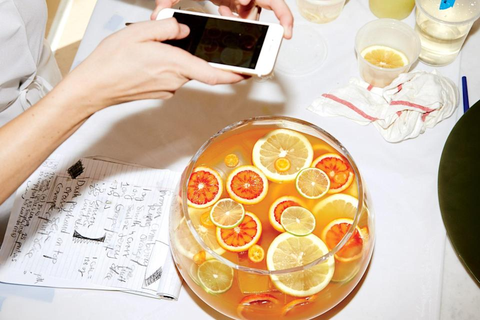 """Two types of rum fortify a punch with citrus slices, juices, and almondy-tasting maraschino liqueur. A word of caution: this punch packs a wallop. Plan accordingly. <a href=""""https://www.epicurious.com/recipes/food/views/spiced-rum-punch-with-citrus-and-luxardo?mbid=synd_yahoo_rss"""" rel=""""nofollow noopener"""" target=""""_blank"""" data-ylk=""""slk:See recipe."""" class=""""link rapid-noclick-resp"""">See recipe.</a>"""