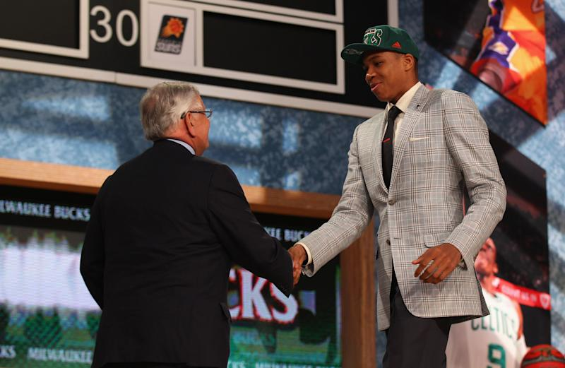 Giannis Antetokounmpo and David Stern FTR