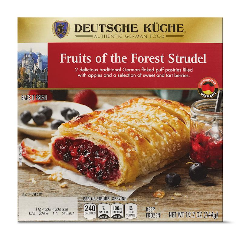 Fruits of the Forest strudel package on white background