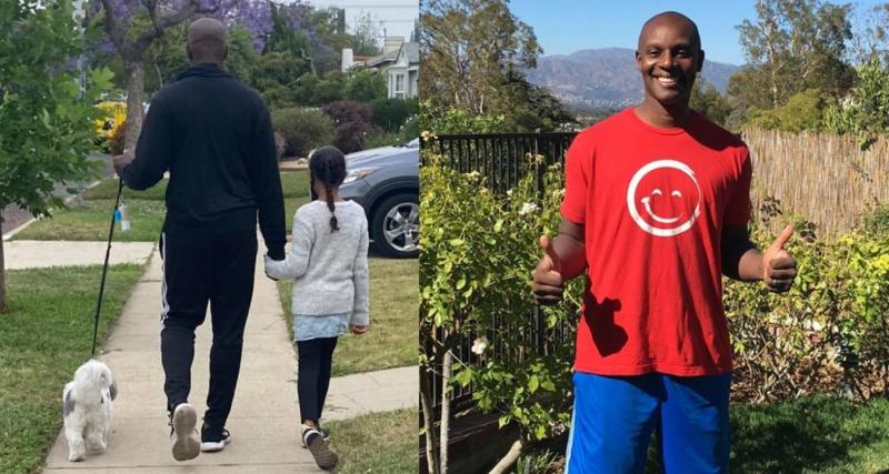 Shola Richards, an author and father-of-two has gone viral after admitting he's afraid to walk alone in his neighbourhood without his dog and daughters. (Images via Facebook/Instagram).